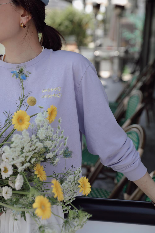 撞色繡花短版T恤