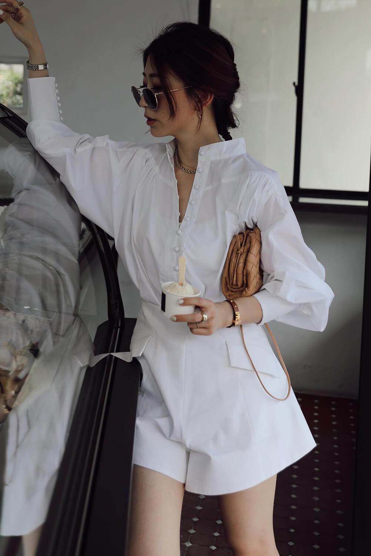 立領澎袖襯衫