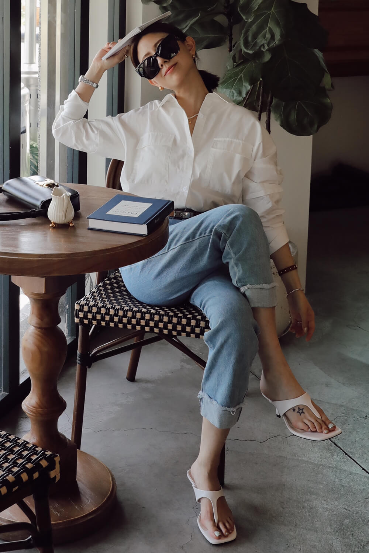 繭型袖開衩襯衫