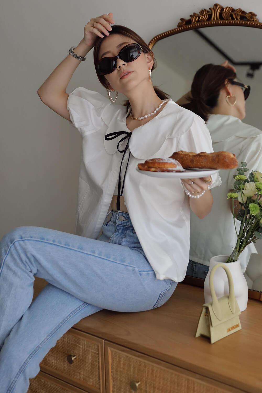 造型領澎袖襯衫