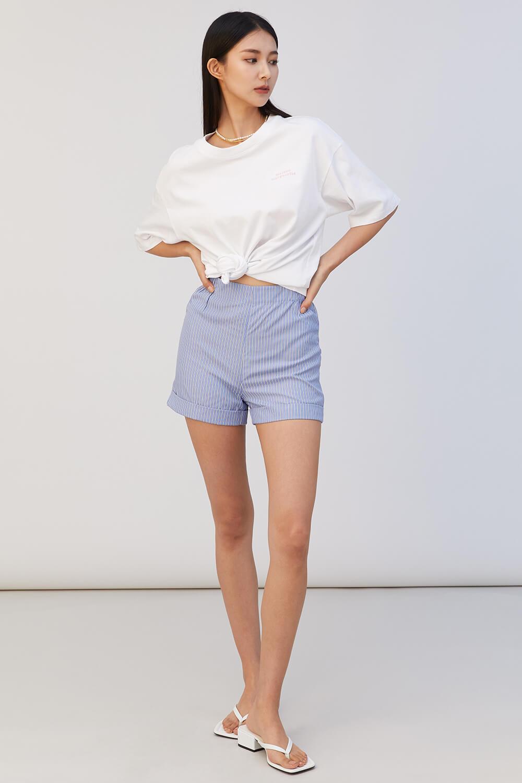 條紋反折短褲