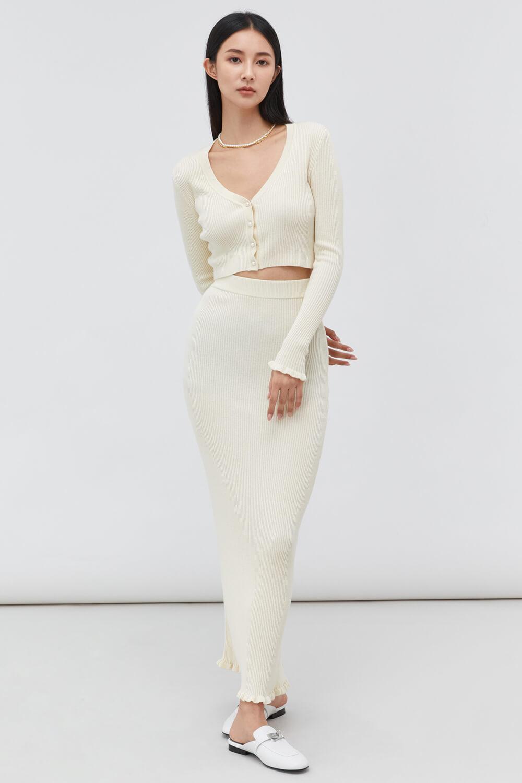 坑條細針織長裙