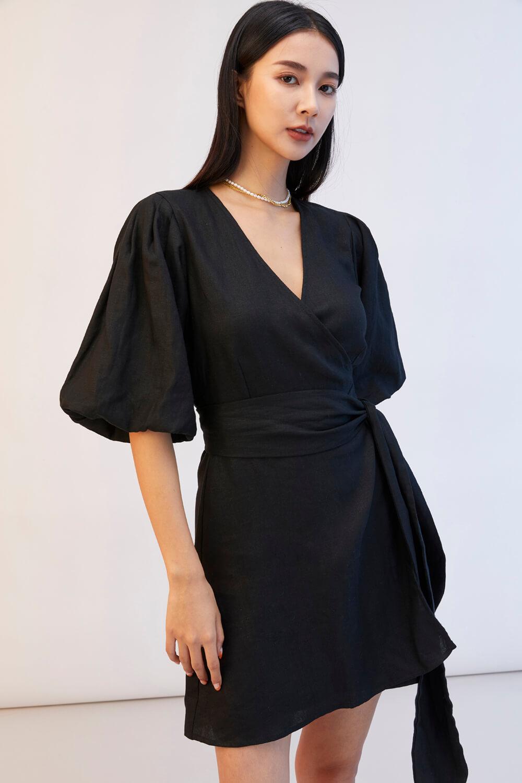 棉麻綁帶洋裝