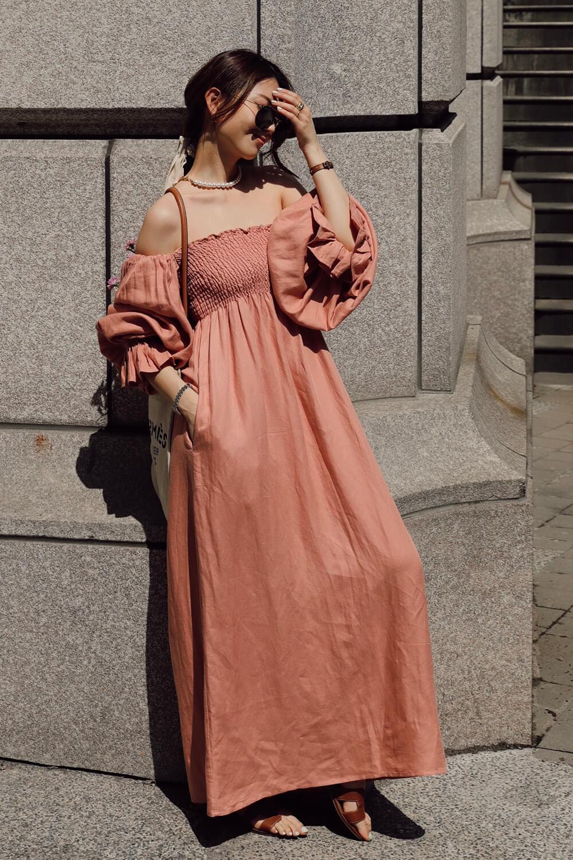 皺褶澎袖棉麻洋裝