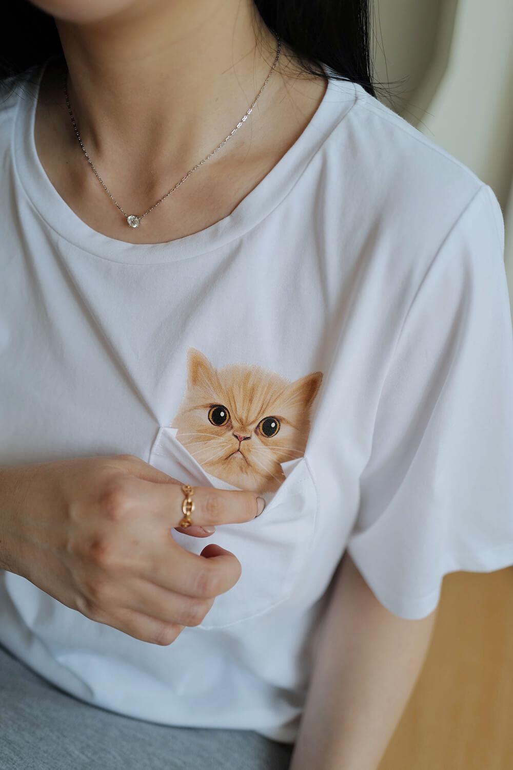 貓咪口袋印花T恤
