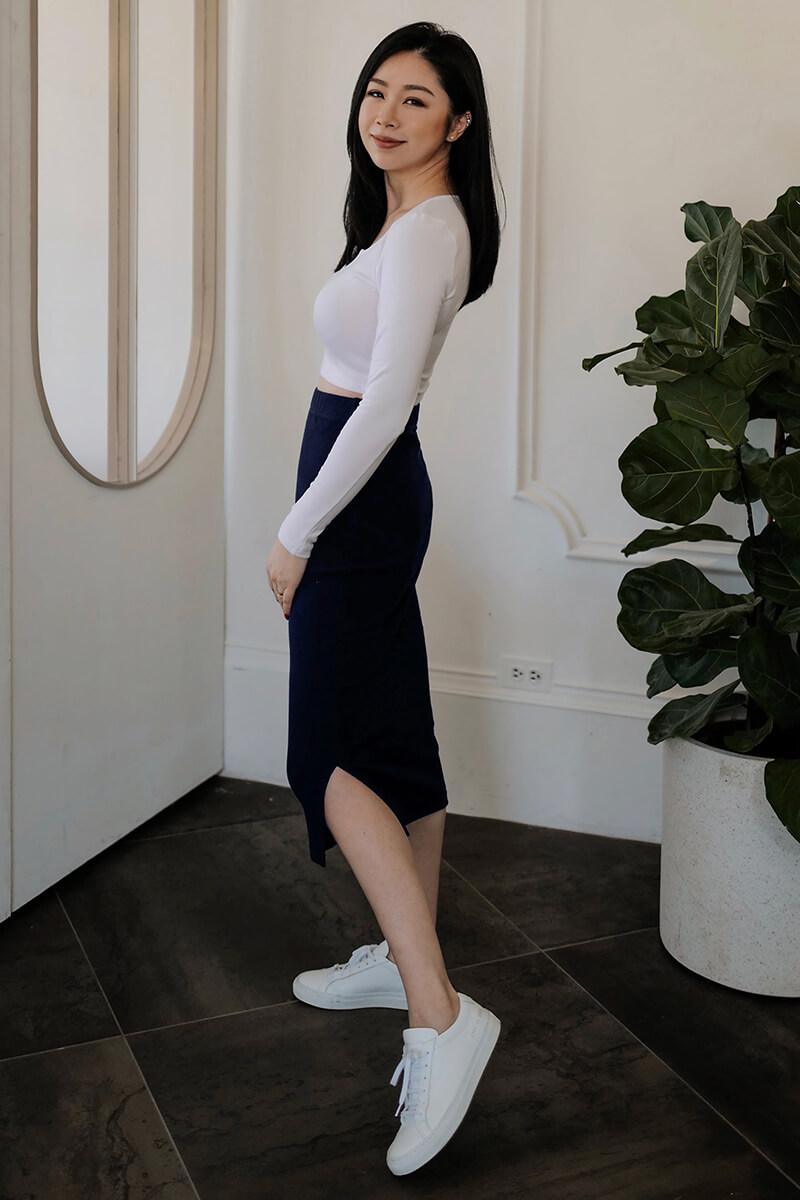 側開衩中長裙