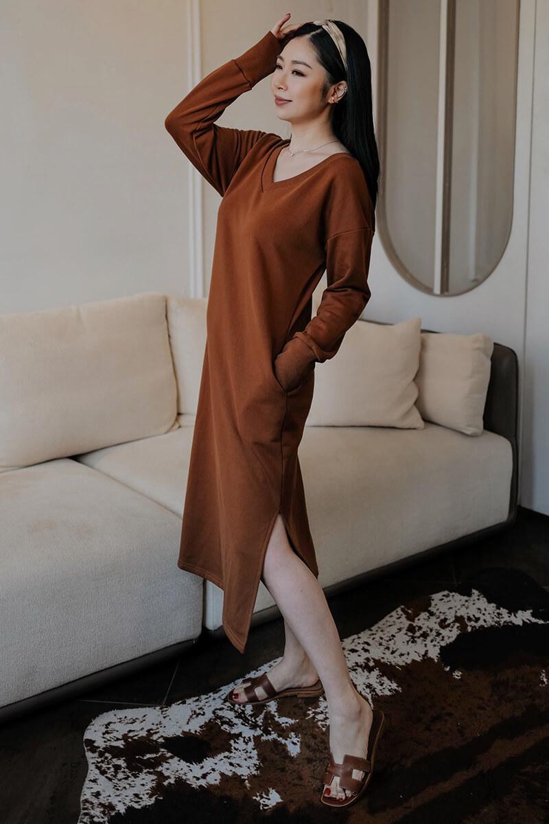 側開衩寬鬆洋裝